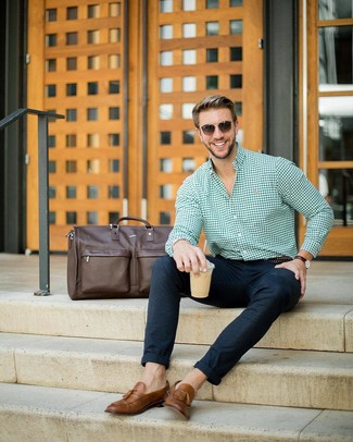 How to wear: dark brown leather duffle bag, brown leather tassel loafers, navy wool chinos, green gingham dress shirt