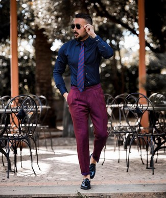 How to wear: purple horizontal striped tie, black leather tassel loafers, purple chinos, navy dress shirt