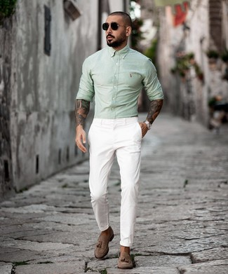 How to wear: black sunglasses, brown suede tassel loafers, white chinos, mint long sleeve shirt