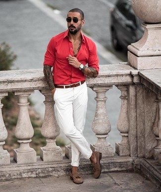 How to wear: brown leather belt, brown suede tassel loafers, white chinos, red long sleeve shirt