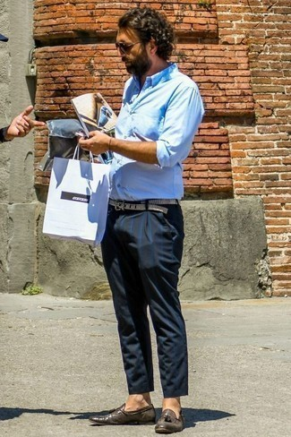 Men's Looks & Outfits: What To Wear In 2020: If you're scouting for a relaxed casual and at the same time dapper look, consider teaming a light blue long sleeve shirt with navy vertical striped chinos. And if you need to effortlessly smarten up this outfit with footwear, add a pair of dark brown leather tassel loafers to the mix.