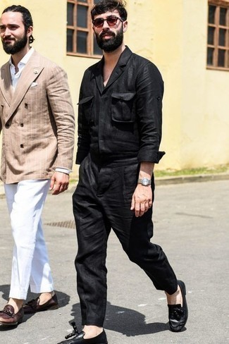 How to Wear Black Chinos In Summer: Exhibit your prowess in menswear styling by pairing a black long sleeve shirt and black chinos for a casual combo. A pair of black leather tassel loafers immediately ups the wow factor of any getup. You're guaranteed to always look good even despite the oppressive heat if you keep this outfit in your front hall closet.
