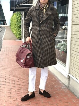 How to wear: red leather messenger bag, dark brown suede tassel loafers, white chinos, dark brown gingham overcoat