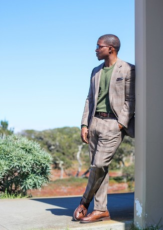How to wear: navy print pocket square, brown leather tassel loafers, olive crew-neck sweater, grey plaid suit