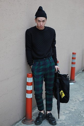 How to wear: black canvas tote bag, black leather tassel loafers, navy and green plaid dress pants, black cable sweater