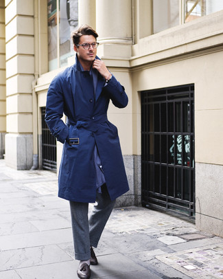 How to wear: navy scarf, black leather tassel loafers, charcoal wool dress pants, navy trenchcoat