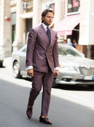 How to wear: dark purple paisley tie, dark brown leather tassel loafers, white dress shirt, purple suit