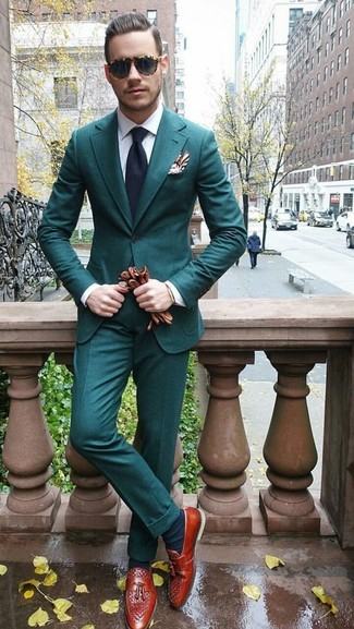 How to wear: navy tie, tobacco leather tassel loafers, white dress shirt, teal suit