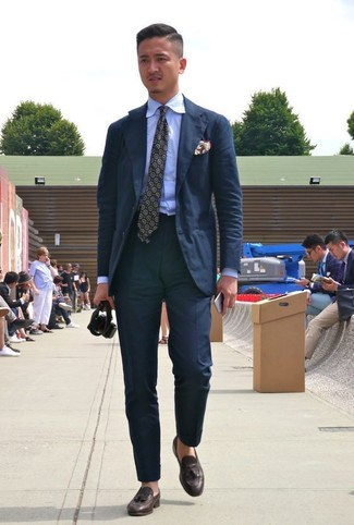 How to wear: olive print tie, dark brown leather tassel loafers, light blue dress shirt, black suit