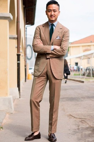 How to wear: navy and green vertical striped tie, dark brown leather tassel loafers, light blue dress shirt, tan suit