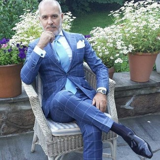 How to wear: light blue tie, black leather tassel loafers, white dress shirt, blue check suit