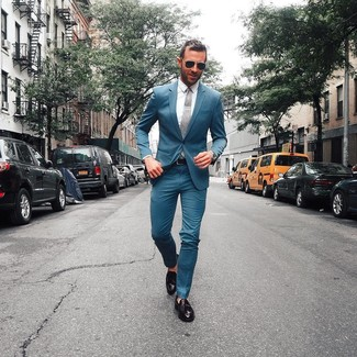 How to wear: grey tie, black leather tassel loafers, white dress shirt, teal suit