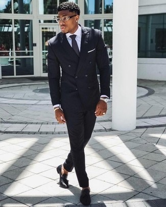 How to wear: black and white polka dot tie, black leather tassel loafers, white dress shirt, black vertical striped suit