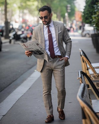 How to wear: burgundy polka dot tie, dark brown leather tassel loafers, white dress shirt, brown plaid suit