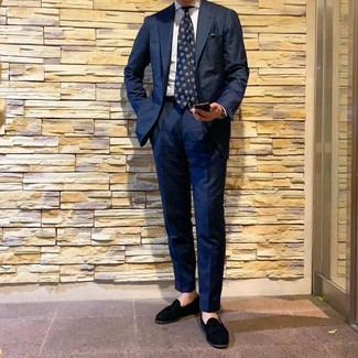 How to wear: navy print tie, black suede tassel loafers, white vertical striped dress shirt, navy suit