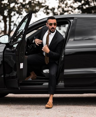 How to wear: brown tie, tan suede tassel loafers, white dress shirt, black suit