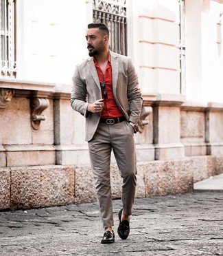 How to wear: black leather belt, black leather tassel loafers, red dress shirt, brown suit