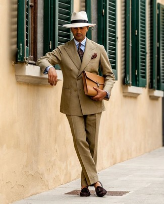 How to wear: tan leather briefcase, dark brown suede tassel loafers, light blue vertical striped dress shirt, tan suit