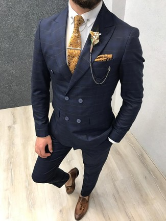 Men's Looks & Outfits: What To Wear In 2020: Channel your inner James Bond and marry a navy check suit with a white dress shirt. Brown leather tassel loafers integrate really well within many outfits.