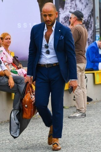 How to Wear a Shirt For Men: Teaming a shirt with a navy suit is an on-point idea for a classic and polished ensemble. Not sure how to complete this outfit? Round off with tobacco leather tassel loafers to kick it up a notch.