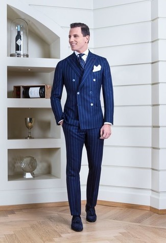 How to Wear a Blue Vertical Striped Suit: You'll be amazed at how easy it is to get dressed this way. Just a blue vertical striped suit teamed with a white dress shirt. Let your styling savvy really shine by complementing your outfit with navy suede tassel loafers.