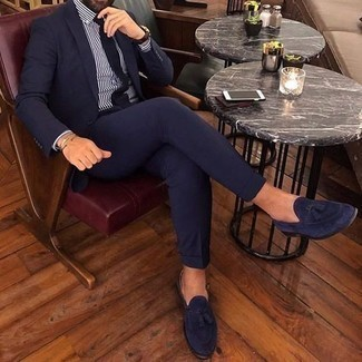 How to Wear a White and Brown Vertical Striped Dress Shirt For Men: This is definitive proof that a white and brown vertical striped dress shirt and a navy suit are amazing when worn together in a refined getup for a modern man. Navy suede tassel loafers are a never-failing footwear style here that's full of character.
