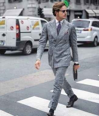 How to Wear Charcoal Sunglasses For Men: For a casual menswear style with a modern twist, pair a grey check suit with charcoal sunglasses. To introduce a little fanciness to your getup, introduce a pair of dark purple leather tassel loafers to the equation.