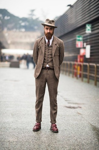 How to wear: brown wool hat, burgundy leather tassel loafers, white dress shirt, brown wool three piece suit