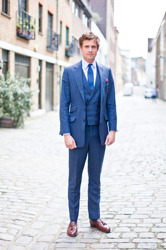 How to wear: blue tie, brown leather tassel loafers, white dress shirt, blue three piece suit