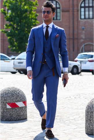 How to wear: dark purple tie, dark brown suede tassel loafers, white dress shirt, blue three piece suit