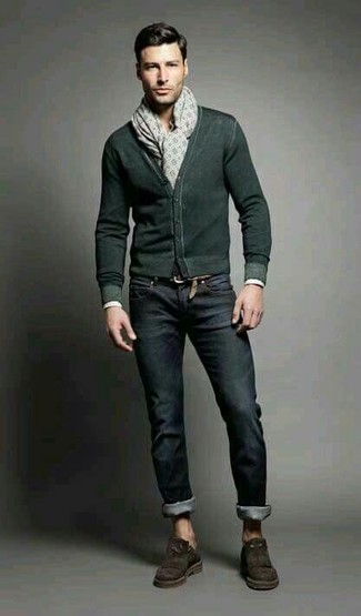 How to wear: beige print scarf, dark brown suede tassel loafers, black jeans, dark green cardigan