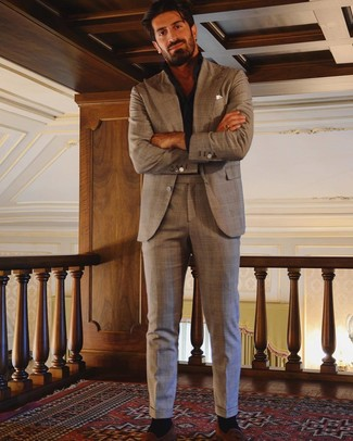 How to wear: white pocket square, tobacco suede tassel loafers, black long sleeve shirt, brown plaid suit
