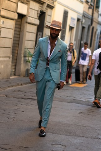 How to wear: tan straw hat, black leather tassel loafers, white long sleeve shirt, mint suit