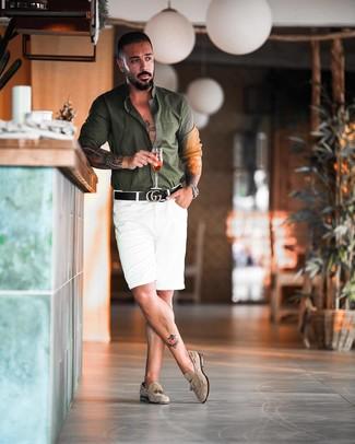 How to wear: black leather belt, beige suede tassel loafers, white shorts, dark green long sleeve shirt