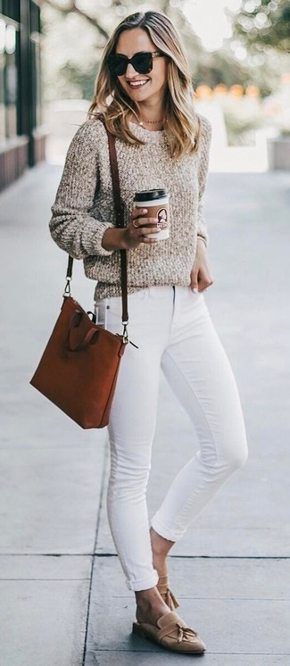 How to wear: tobacco leather crossbody bag, tan suede tassel loafers, white skinny jeans, beige boucle crew-neck sweater