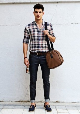 Asos Tapered Jeans In Black With Cargo Rip And Repair