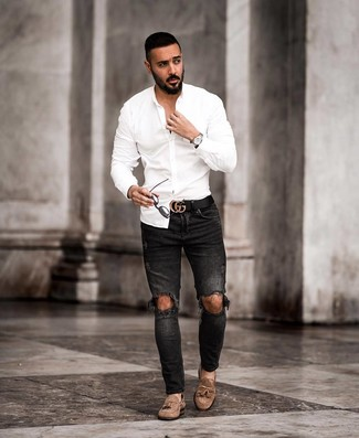 How to wear: black leather belt, brown suede tassel loafers, black ripped skinny jeans, white long sleeve shirt