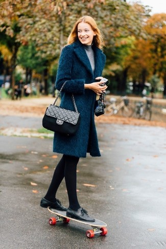 How to wear: black quilted leather crossbody bag, black leather tassel loafers, grey turtleneck, teal coat