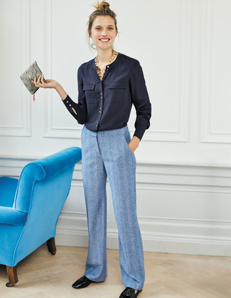 How to wear: grey leather clutch, black leather tassel loafers, light blue wide leg pants, navy button down blouse