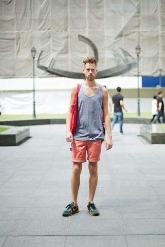 Men's Looks & Outfits: What To Wear In a Relaxed Way: Such pieces as a light blue tank and pink shorts are the ideal way to introduce effortless cool into your casual collection. Complement this ensemble with teal athletic shoes to bring a touch of stylish effortlessness to your look.