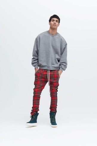How to wear: teal high top sneakers, red plaid sweatpants, grey sweatshirt