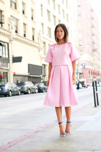How to wear: teal leather heeled sandals, pink pleated midi skirt, pink short sleeve blouse