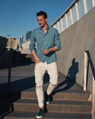 How to wear: silver watch, teal suede low top sneakers, white ripped jeans, light blue chambray long sleeve shirt
