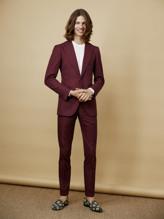 How to wear: teal suede loafers, white crew-neck t-shirt, burgundy suit