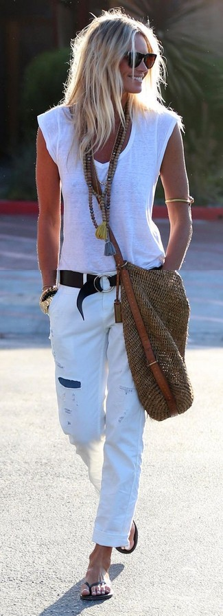 How to wear: brown straw tote bag, black thong sandals, white ripped boyfriend jeans, white v-neck t-shirt