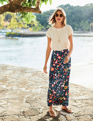How to wear: yellow sunglasses, tan leather thong sandals, navy floral maxi skirt, white polka dot crew-neck t-shirt