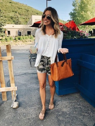How to wear: tobacco leather tote bag, brown leather thong sandals, olive camouflage shorts, white chiffon button down blouse