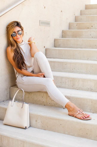 How to wear: beige leather tote bag, tan leather thong sandals, beige skinny pants, beige sleeveless top