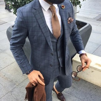 How to wear: grey check three piece suit, white dress shirt, dark brown leather loafers, tan knit tie