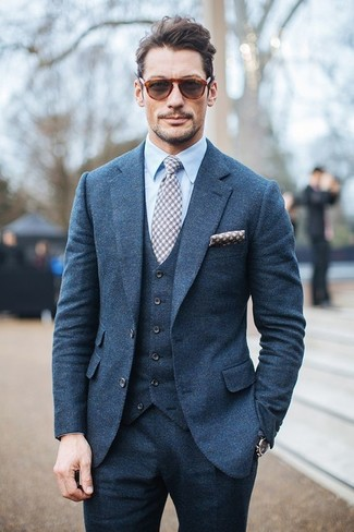 David Gandy wearing Blue Three Piece Suit, Light Blue Dress Shirt, Grey Gingham Tie, Grey Polka Dot Pocket Square